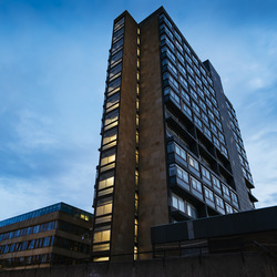 David Hume Tower in twilight