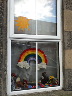 Rainbow window display