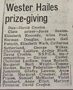 Wester Hailes Primary School Prize List 1955