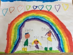 Rainbow birthday greeting from Abi to her grandparents