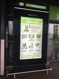Social distancing instructions at Asda, Newhaven
