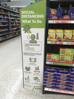 Social distancing instructions inside Asda, Newhaven