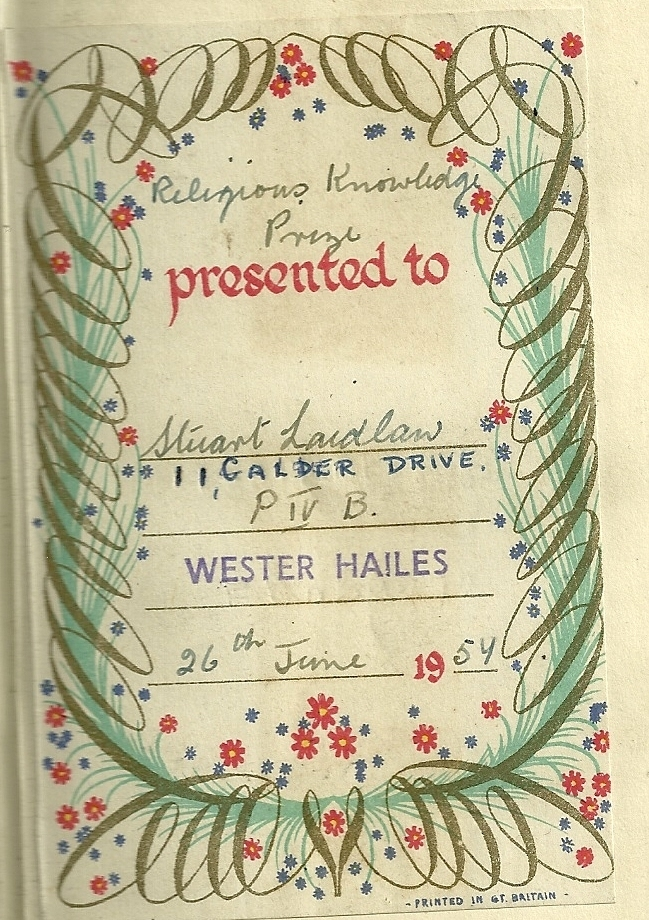 Wester Hailes Primary School Religious Knowledge Prize 1957