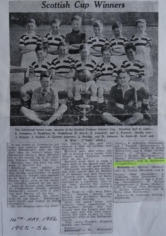 Edinburgh Primary School Football Team - Scottish Cup Winners 1955/6