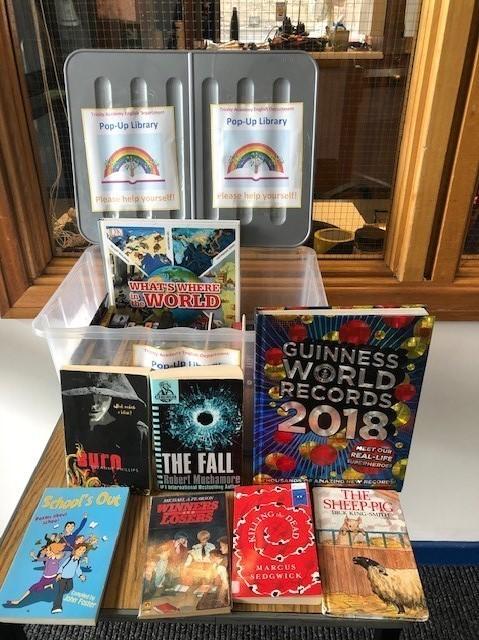 Pop-up library at Trinity Academy, Edinburgh