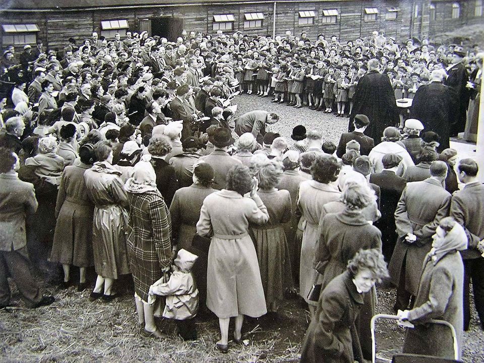 Outdoor Service at St Nicholas Church Huts 1950s