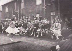 Dancing in the street in Sighthill in the1950s.