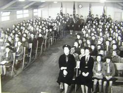 Guides and Brownies in Wooden Church Hall in Broomhouse circa 1950s