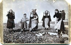 Fisherwomen and girls on Fisherrow Scap getting bait for their family's boats 1903