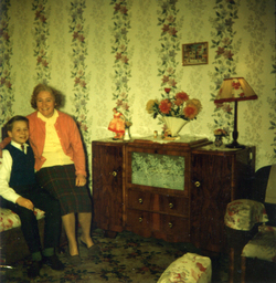 Mother And Son Sitting On Sofa In Their Canongate Home c.1962