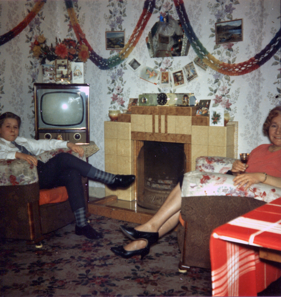 Mother And Son Sitting Round The Living Room Fire At Christmastime c.1962