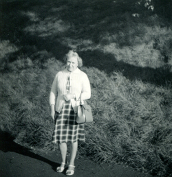 Woman Out For Walk In Holyrood Park c.1965