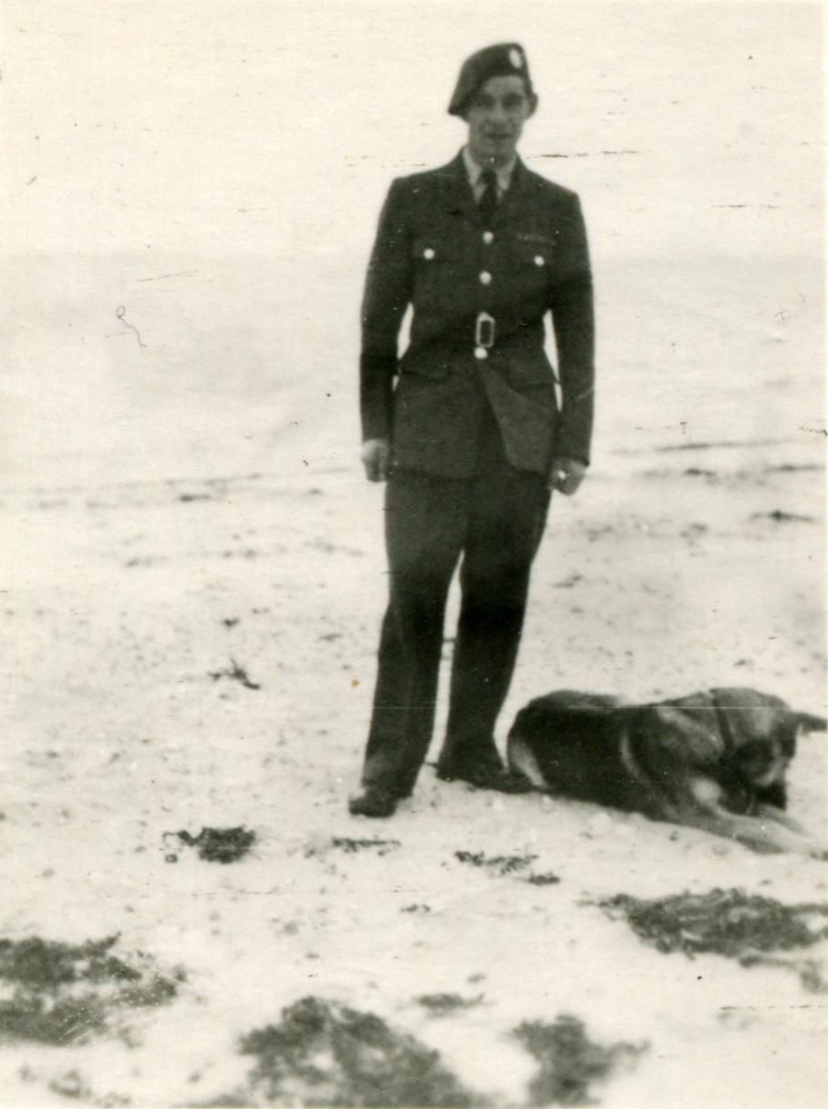 RAF Regiment Serviceman Off Duty Walking On Beach With Dog c.1947