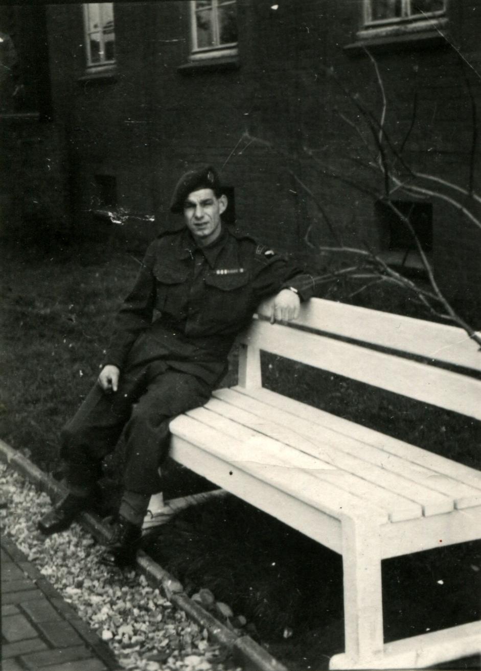 RAF Regiment Serviceman Reclining On Bench, 30th October 1946