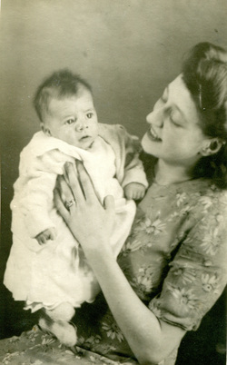 Studio Portrait Young Mother With Baby, 21st December 1945