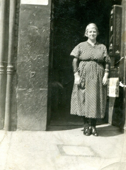 Woman Standing Outside Shop Door In The Canongate c.1935