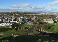 Holyrood with Calton Hill behind from Salisbury Crags