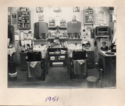 """This was our Father's first Barber Shop """"Bob's"""" which he opened in the West Port 69 years ago."""