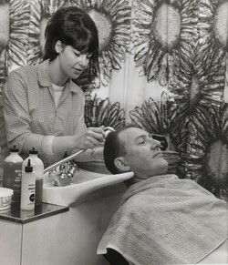 The girl washing hair was Rhona in our new appointment salon.