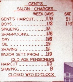 Price List showing old £. s. p. prices.
