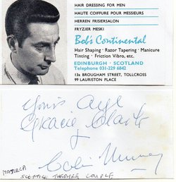 Chic Murray the Scottish comedian and his wife signed the reverse side of
