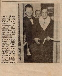 "The Edinburgh Evening News photographs Jack Milroy cutting the Tape at ""Bobs"".."