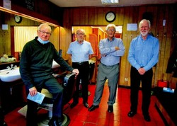 From left to right Jim Aitken, David Turner, Robin, and Colin Campbell photographed on the last hour of closing.
