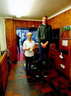 Lynda Falconer with customer James McAlpine not yet 18.