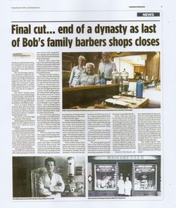 """Final cut... end of a dynasty as last of Bob's family barbers shops closes"""