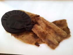 Real fox fur stole and hat