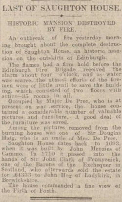 Saughton House off the Old Calder Road - Fire Report.(Picture 4) 2nd February 1918