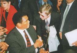 Ken Buchanan shake's hand's with Muhammad Ali