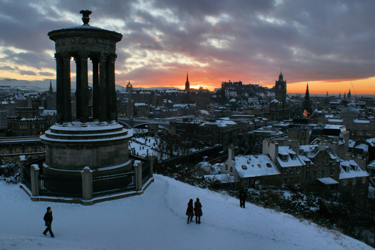 Dugald Stewart Monument on winter evening