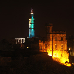 Nelson's Monument lit at night