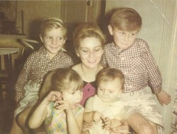 This is a photo of my Sister Ann with her kids, Ian, Craig, Julie & baby Keith,