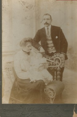 Granny & Grandad Bain with their newborn