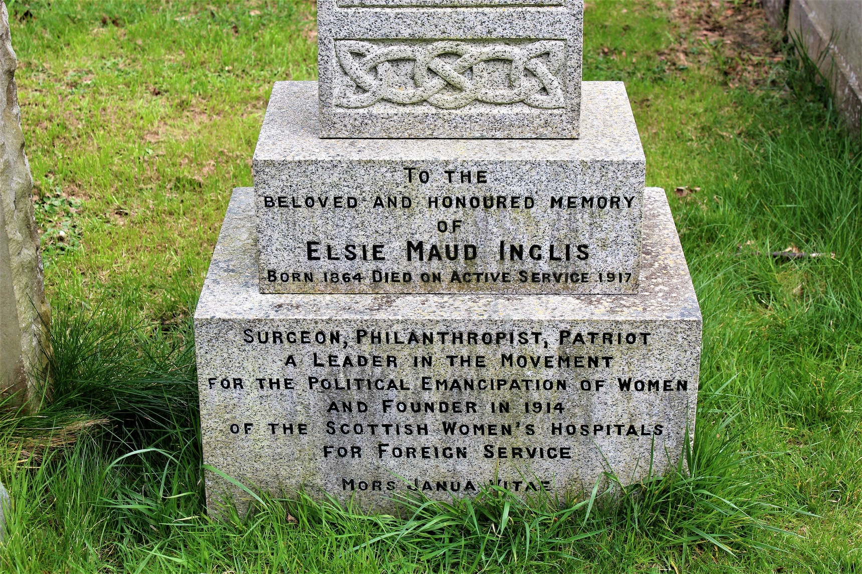 Detail on gravestone of Elsie Inglis.