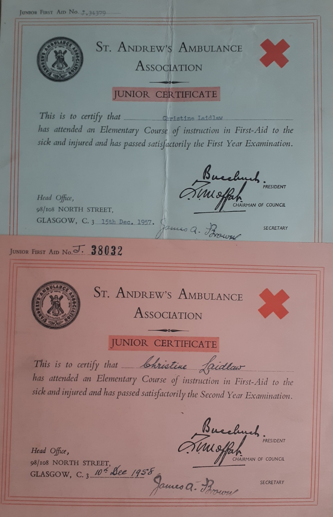 St Andrews Ambulance Certificates 1957 and 1958