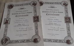 Certificates from the Scottish Society for the Prevention of Cruelty to Animals 1955 and 1956