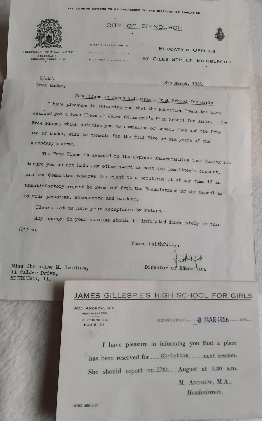 James Gillespies Acceptance Letter to Christine Laidlaw 1956