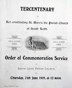 Order Of Commeration Service Marking The Tercentenary Of South Leith Parish Church 1909