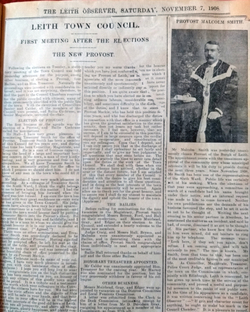 Election Of Malcolm Smith To Office Of Provost Of Leith, 7 November 1908