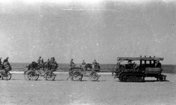 Soldiers Of The 7th Royal Scots Being Transported By Canal Barge In Palestine c.1917