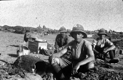 Soldiers Of The 7th Royal Scots Sitting Round Field Kitchen At Rest Camp On The Gallipoli Peninsula c.1915