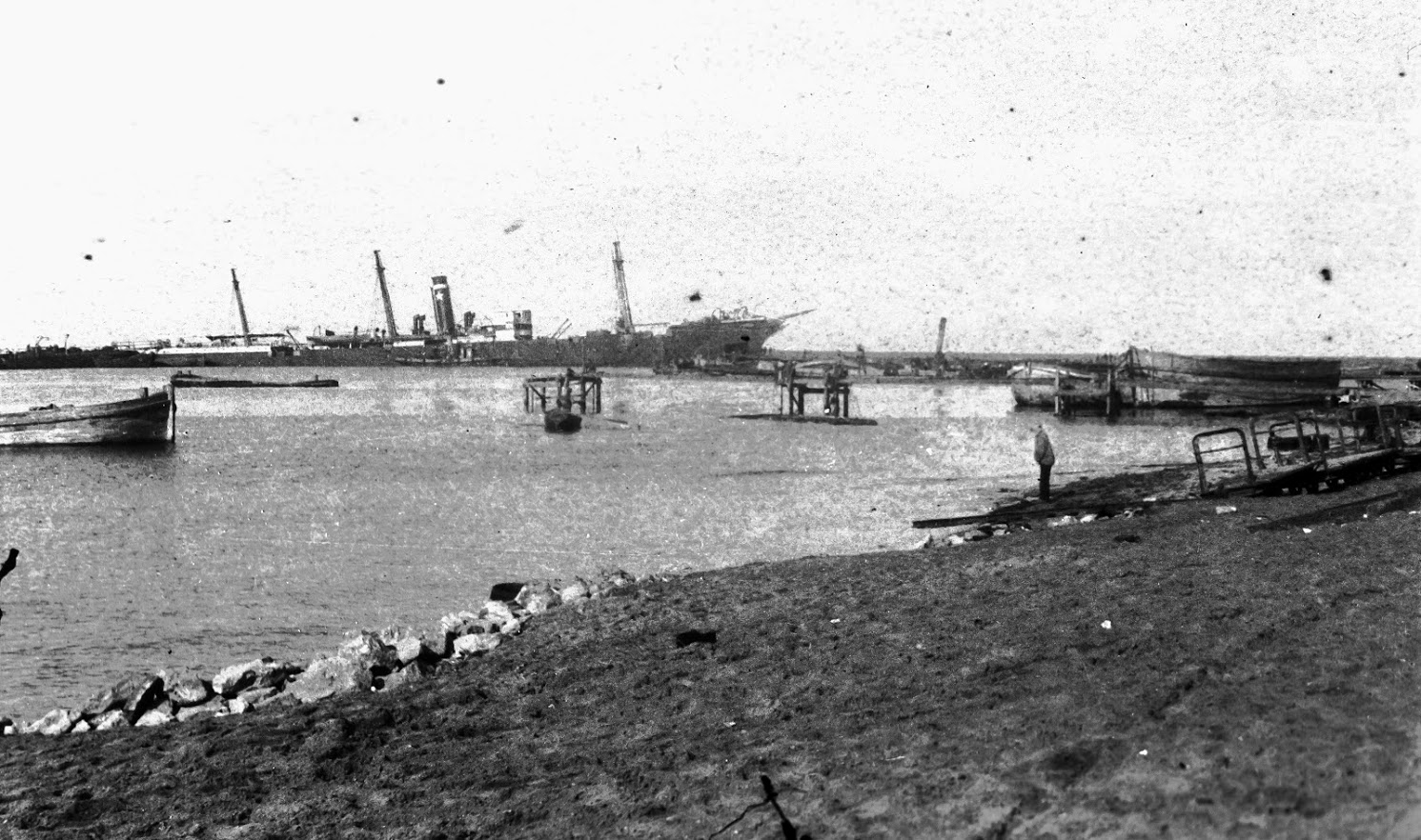 Ship Anchored At Beach c.1915
