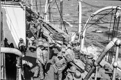 Soldiers Of The 7th Royal Scots On Board Troopship c.1916