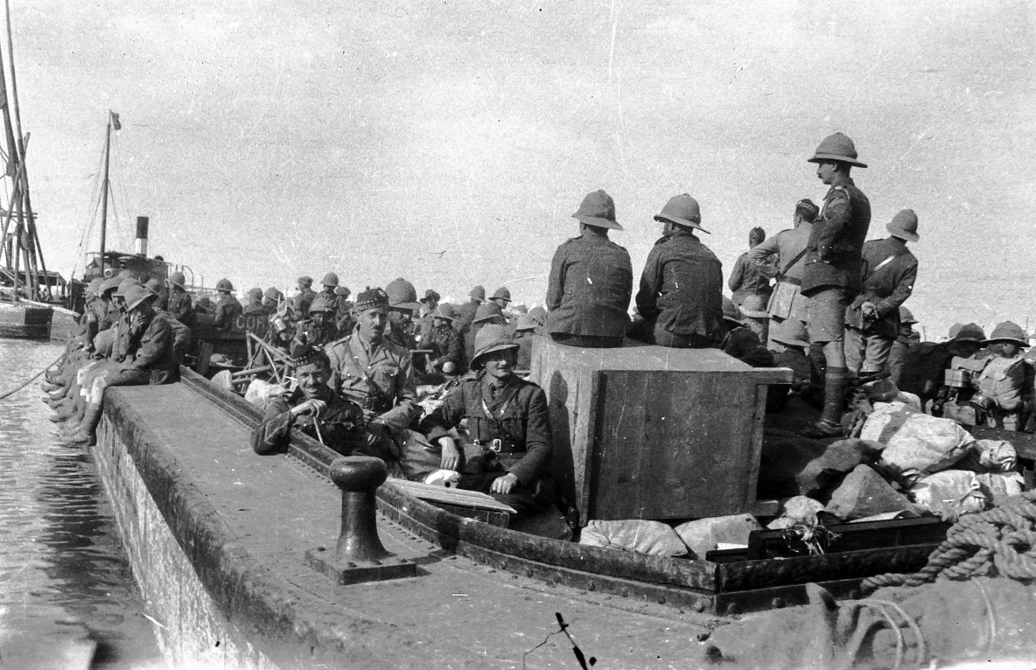 7th Royal Scots Moving By Barge From Balah (Deir al Balah) to Kantara (El Qantara) During The Sinai And Palestine Campaign c.1917