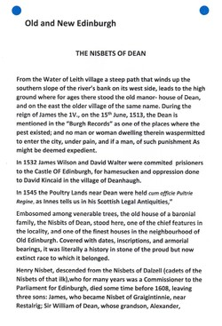 """""""Old and New Edinburgh THE NISBETS OF DEAN"""" PAGE 1"""