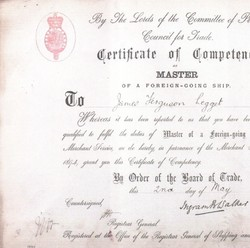 """""""Certificate of Competence as MASTER OF A FOREIGN - GOING SHIP To James Ferguson Legget """"."""