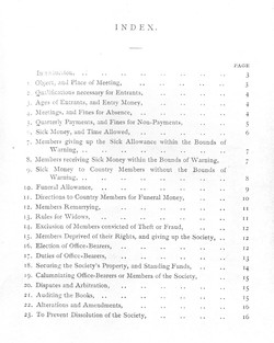 """ARTICLES OF THE SOCIETY OF SKINNERS """"INDEX"""" PAGE."""